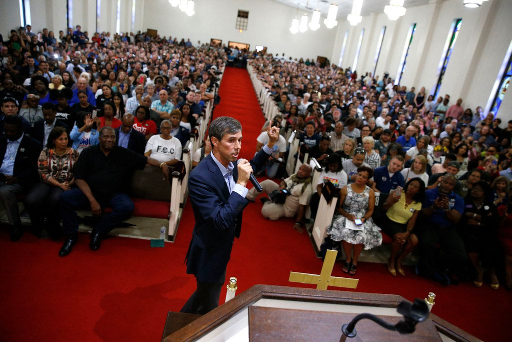 Beto O'Rourke speaks to the crowd during the South Dallas with Beto! event at Good Street Baptist Church in Dallas on Sept. 14, 2018.