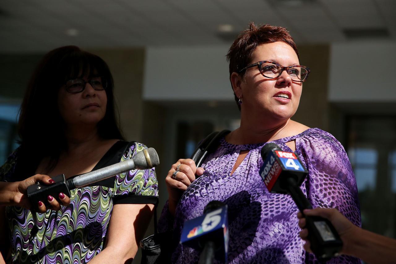 Jonni McElroy, madre de Christina Morris, durante una audiencia judicial contra Enrique Arochi, el sospechoso de la desaparición de Morris. (DMN/ANDY JACOBSOHN)