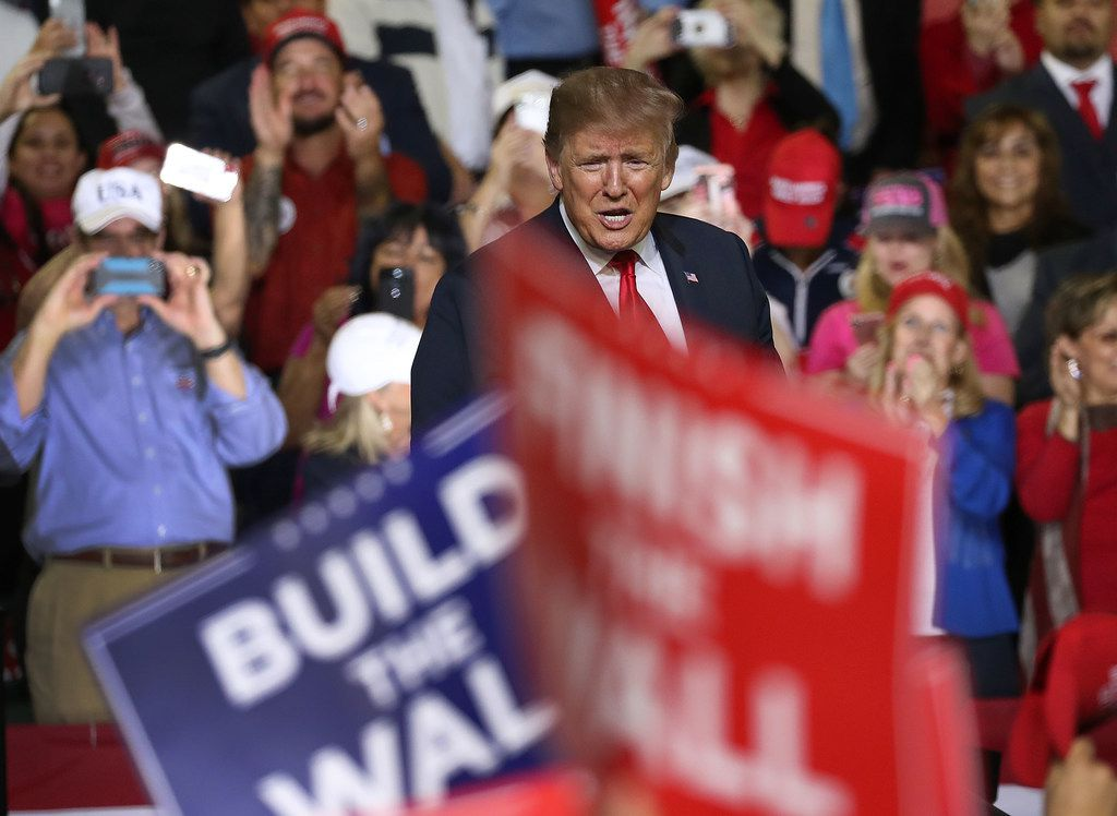 Trump speaks during a rally at the  El Paso County Coliseum on February 11, 2019 in El Paso, Texas.