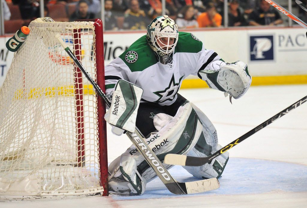 April 8, 2015; Anaheim, CA, USA; Dallas Stars goalie Jhonas Enroth (1) defends the goal against Anaheim Ducks during the third period at Honda Center. Mandatory Credit: Gary A. Vasquez-USA TODAY Sports 04102015xSPORTS