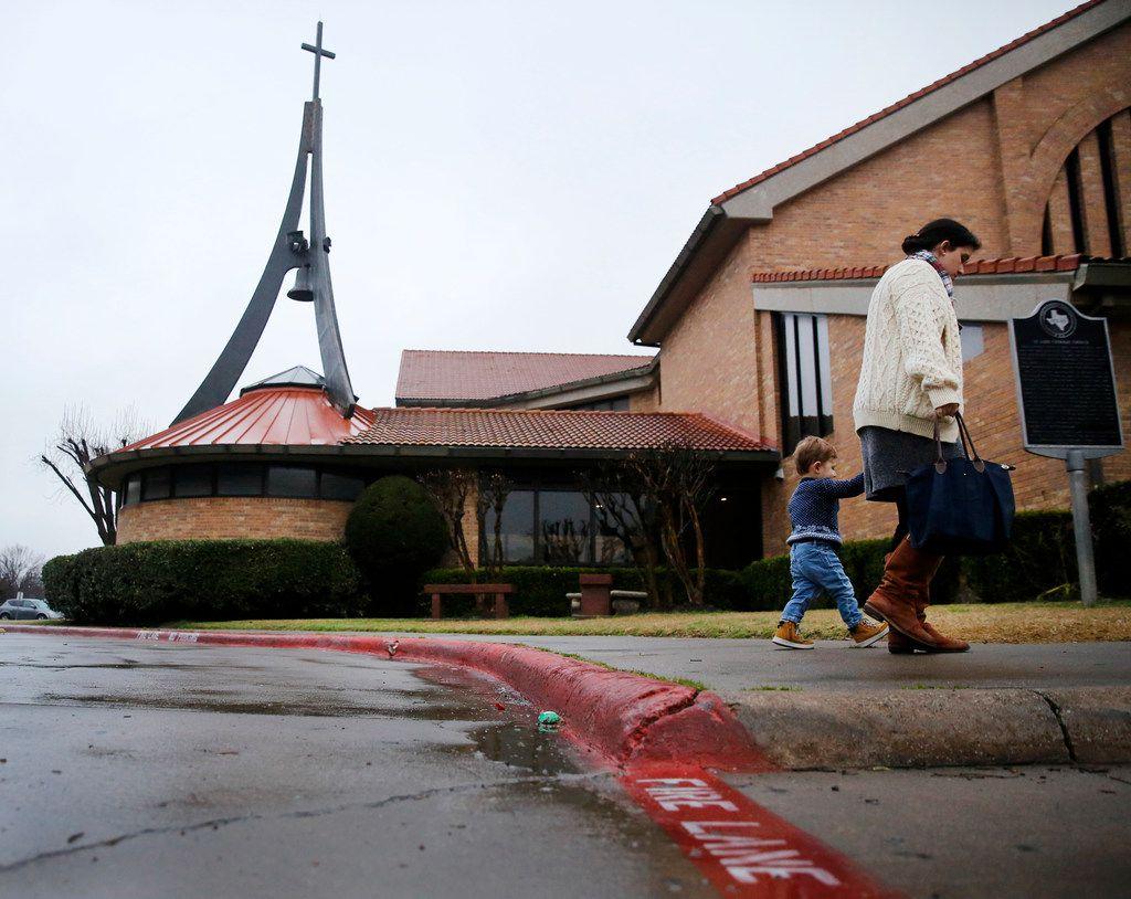 Parishioners file into St. Luke Catholic Church for Mass.