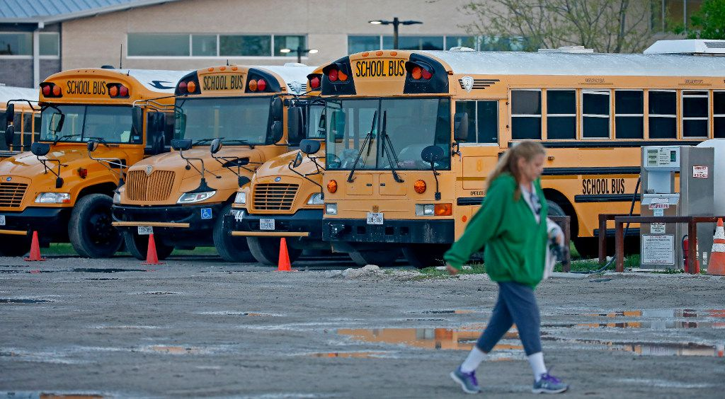 Hail from Sunday night's storms damaged many of the buses used by Little Elm ISD. (Jae S. Lee/Staff Photographer)