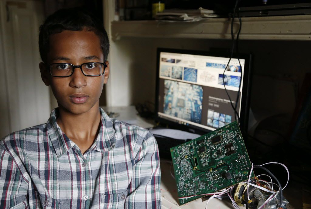 Irving MacArthur High School student Ahmed Mohamed, 14, poses for a photo at his home in Irving, on Tuesday, September 15, 2015. Mohamed was arrested and interrogated by Irving Police officers after bringing a homemade clock to school.