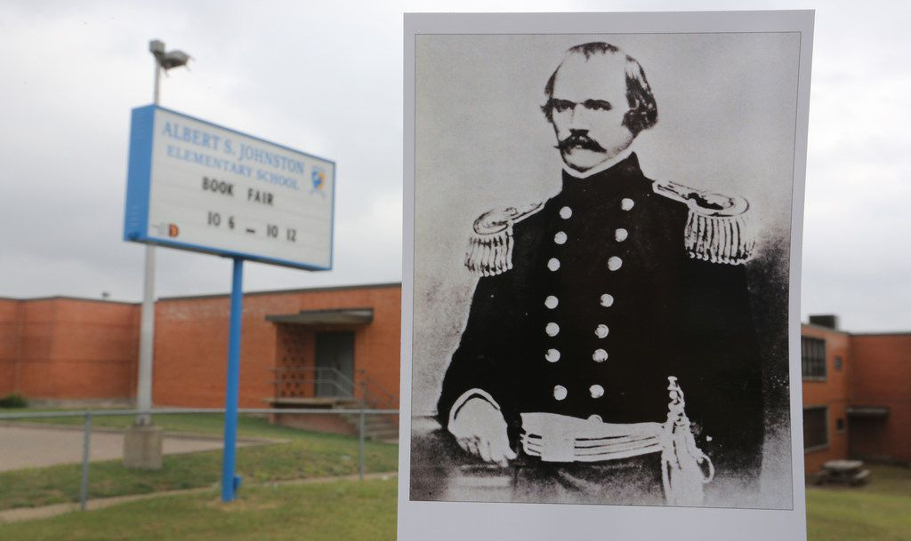 An archive copy photo of Albert Sidney Johnston is displayed in a photo of Johnston Elementary School at 2020 Mouser Lane in Dallas.