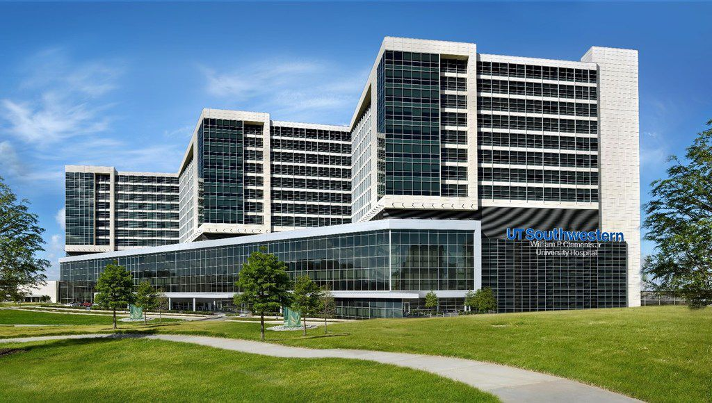 A rendering of the $480 million expansion of UT Southwestern's flagship William P. Clements Jr. University Hospital.