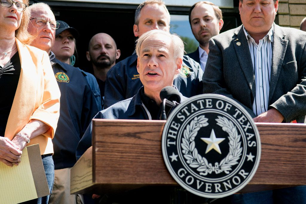 Texas Gov. Greg Abbott speaks during a news conference Sunday, April 30, 2017, in Canton, Texas. Severe storms including tornadoes swept through several small towns in East Texas, killing several people, and leaving a trail of overturned vehicles, mangled trees and damaged homes, authorities said Sunday.