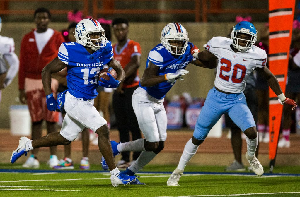 Duncanville wide receiver Roderick Daniels (13) runs to the end zone for a touchdown during the first quarter of a high school football game between Skyline and Duncanville on Friday, October 4, 2019 at Panther Stadium in Duncanville. (Ashley Landis/The Dallas Morning News)