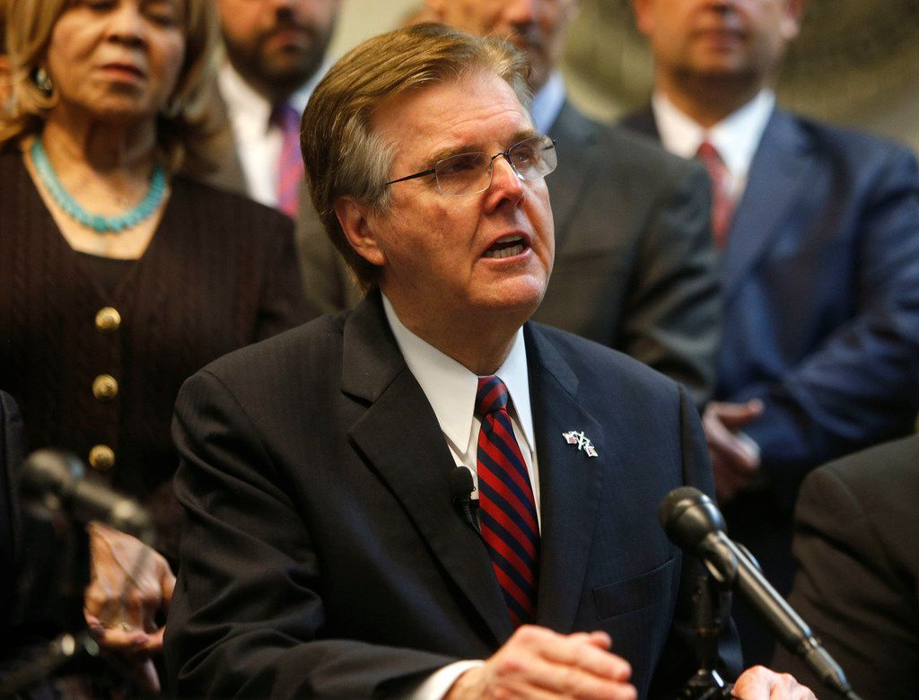 Texas Lt. Gov. Dan Patrick speaks to the media to announce the grant funding for rifle-resistant vests for Texas police officers at Dallas Police Association Headquarters in Dallas on Jan. 9, 2018.