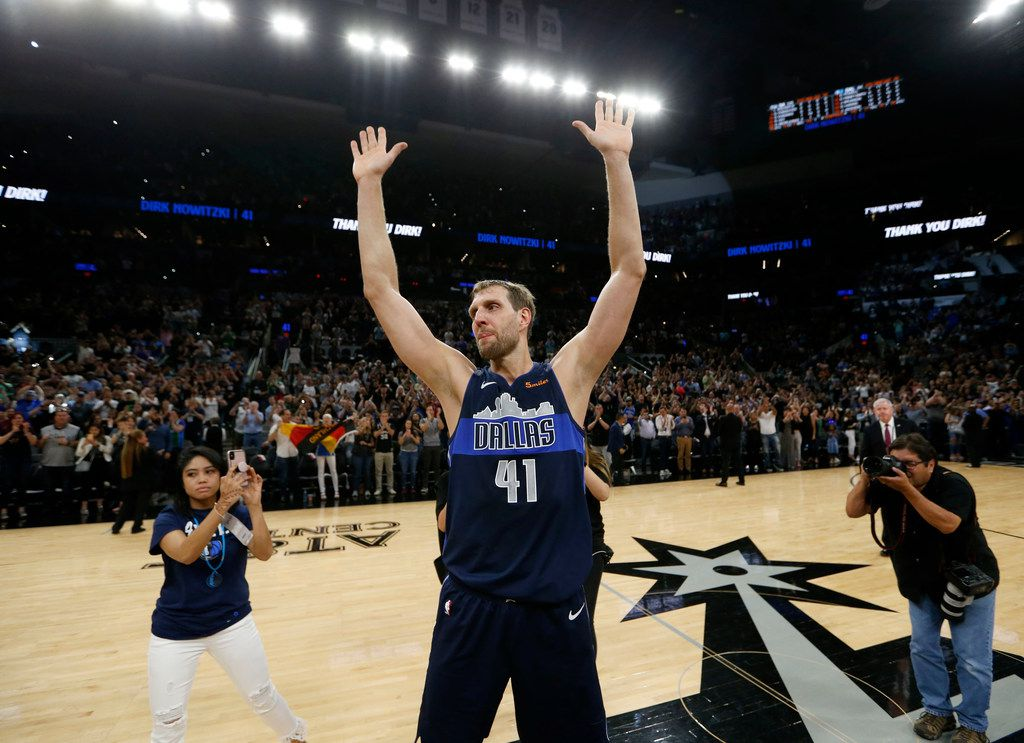 Dallas Mavericks forward Dirk Nowitzki (41) walks the court after the game against the San Antonio Spurs at AT&T Center in San Antonio, Texas on Wednesday, April 10, 2019. (Vernon Bryant/The Dallas Morning News)