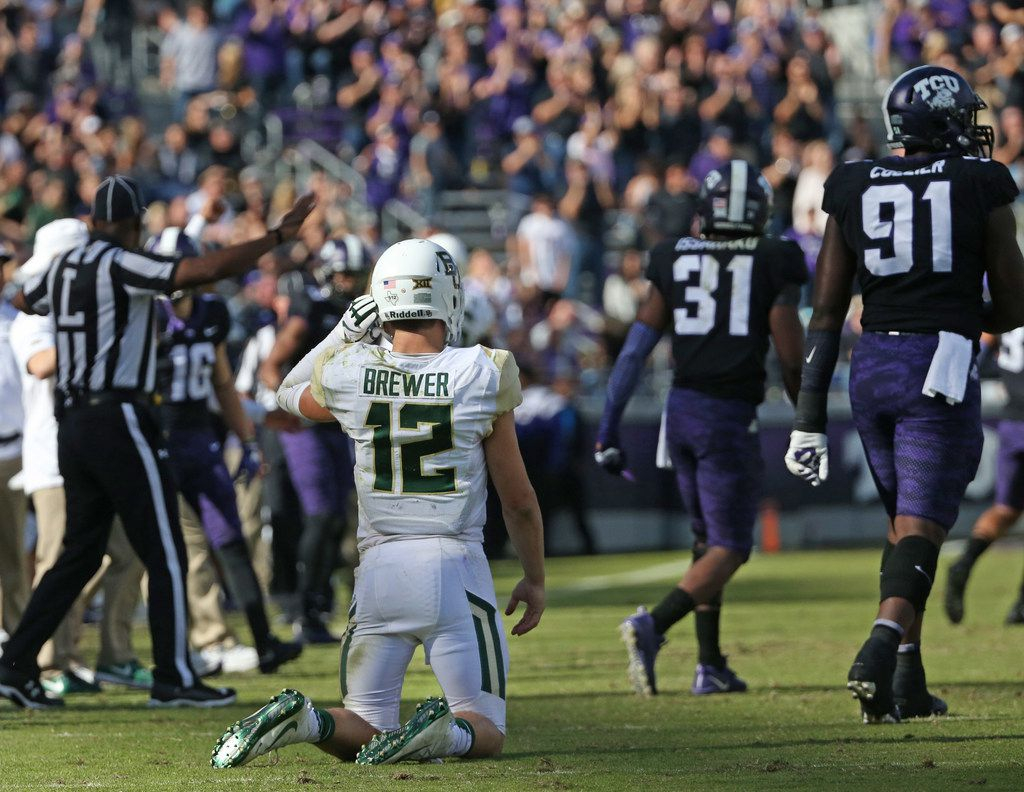 FILE - Baylor quarterback Charlie Brewer (12) is pictured during a game against TCU at Amon G. Carter Stadium in Fort Worth on Friday, Nov. 24, 2017. (Louis DeLuca/The Dallas Morning News)