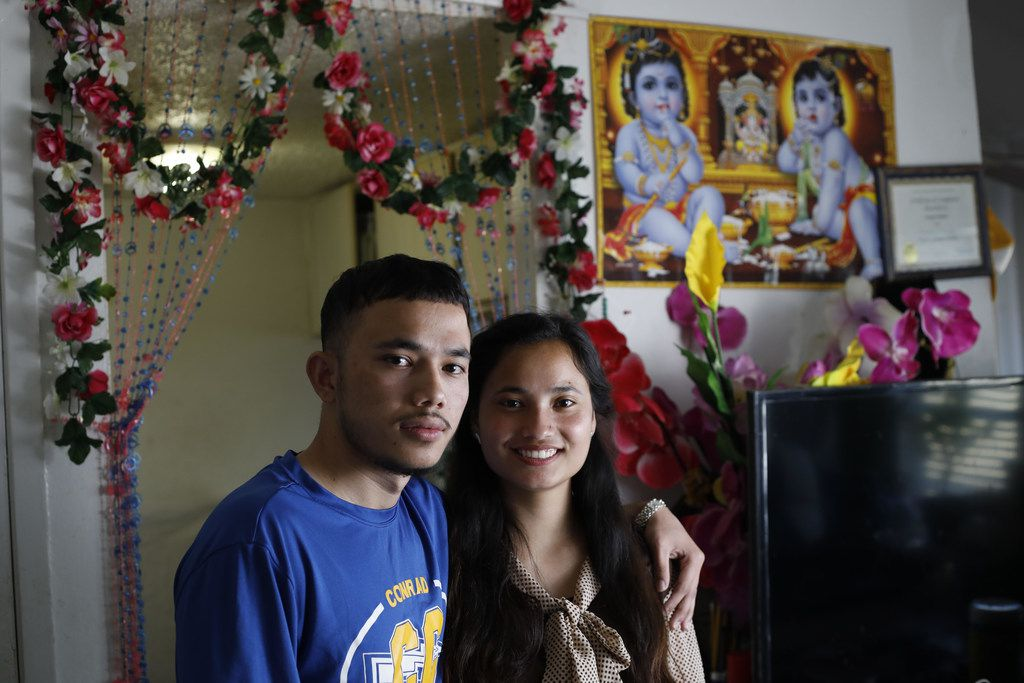 """Chet and Anita Adikhari are ethnic Bhutanese born in a refugee camp in Nepal.  They were interviewed together in their Vickery Meadow apartment for """"Dallas is Home,"""" a multimedia installation that invites immigrants residing in Dallas to share their experiences of making Dallas their home."""