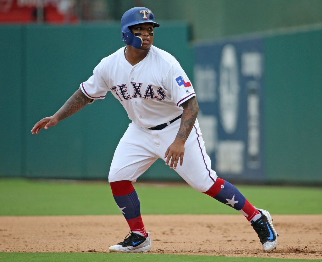 Texas Rangers left fielder Willie Calhoun (55) is pictured during the Houston Astros vs. the Texas Rangers major league baseball game at Globe Life Park in Arlington, Texas on Wednesday, September 27, 2017. (Louis DeLuca/The Dallas Morning News)