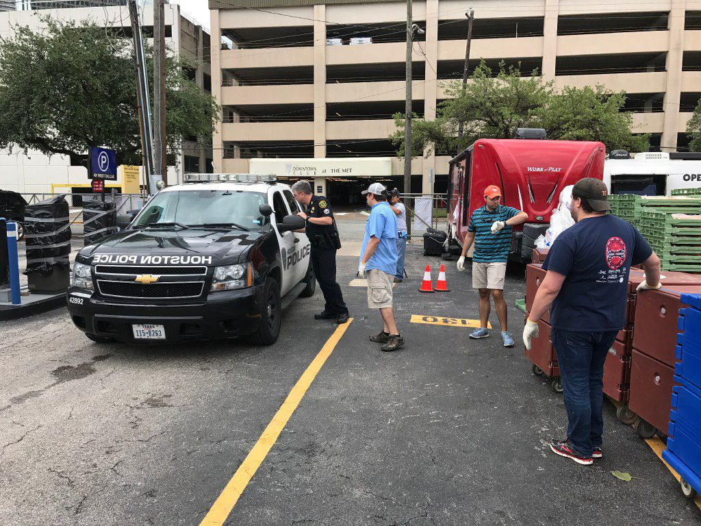 Operation BBQ Relief, one of the organizations benefiting from Mercury One funding, served meals to Harvey first responders on Labor Day weekend. Some Houston police officers drove to the site and took meals back to their precincts.