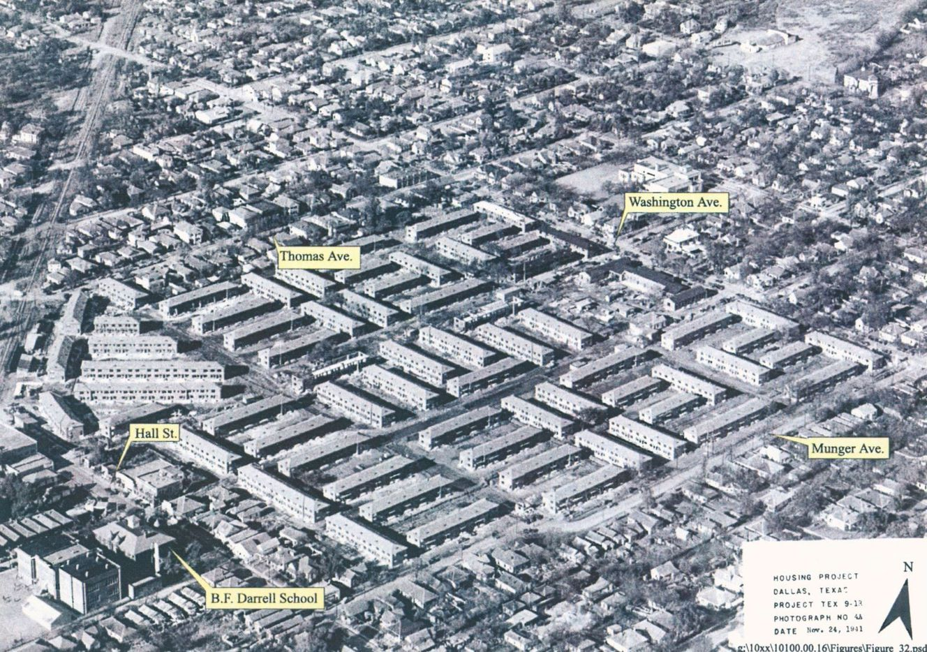 Aerial view of Roseland Homes construction, July 1941.