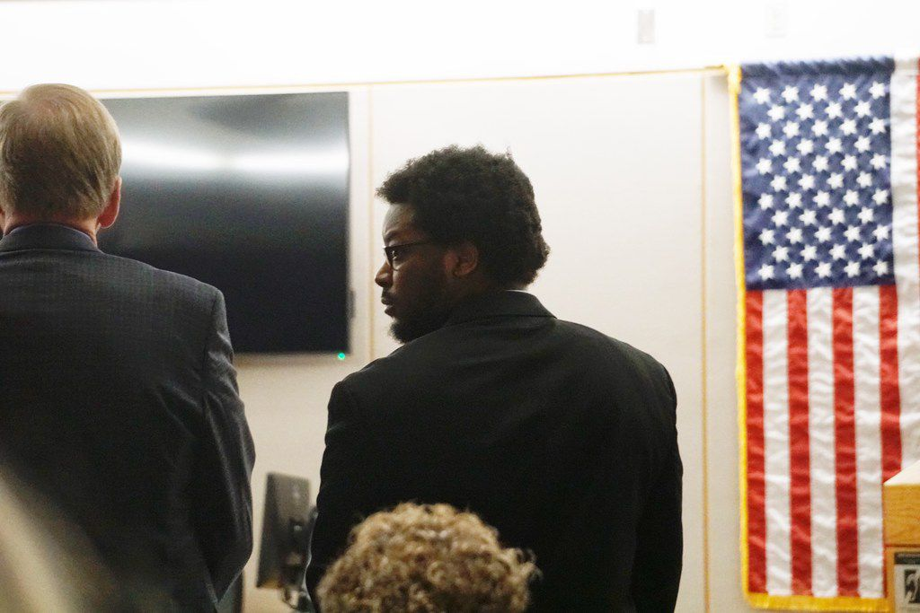 Thomas Johnson looks back into the gallery during his murder trial at Frank Crowley Court House in Dallas, on Monday April 29, 2019. The former Texas A&M and Skyline High School football star was charged with murder in October 2015 after police said he killed 53-year-old runner Dave Stevens with a machete on White Rock Trail. (Lawrence Jenkins/Special Contributor)