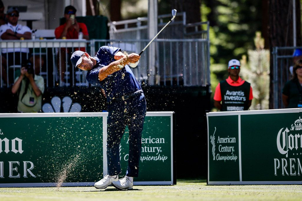 STATELINE, NEVADA - JULY 14: Tony Romo tees off on hole 7 of the final round of the American Century Championship at Edgewood Tahoe Golf Course on July 14, 2019 in Stateline, Nevada. (Photo by Jonathan Devich/Getty Images)