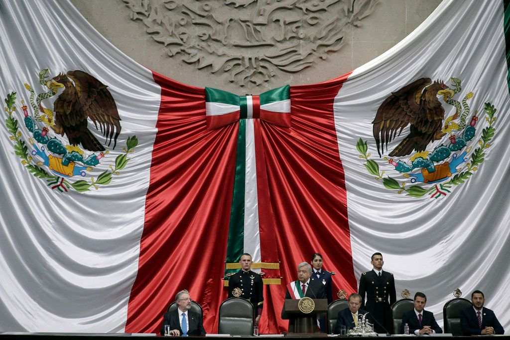 Lopez Obrador, center, speaks during his inaugural ceremony.