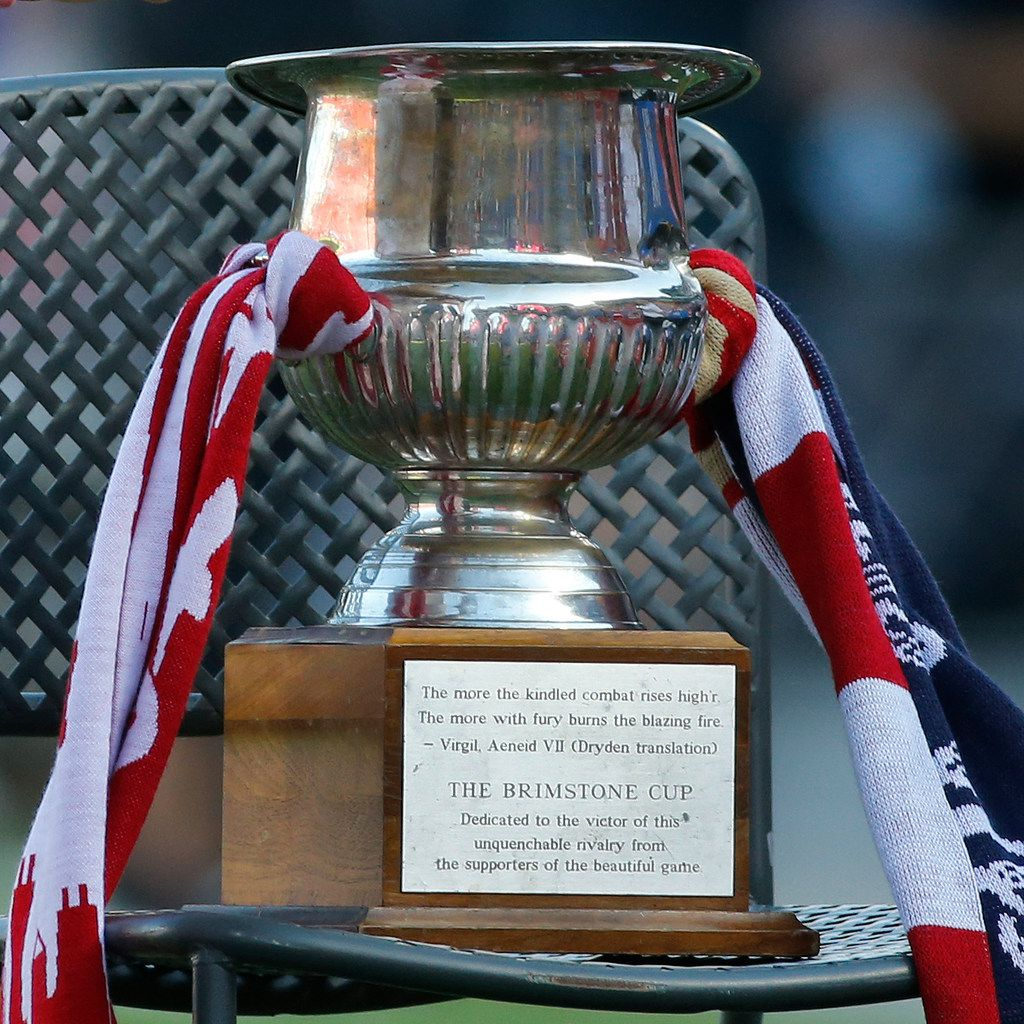 The Brimstone Cup is pictured on the sidelines during the FC Dallas vs. the Chicago Fire major league soccer game at Toyota Stadium in Frisco, Texas on Saturday, July 14, 2018. (Louis DeLuca/The Dallas Morning News)
