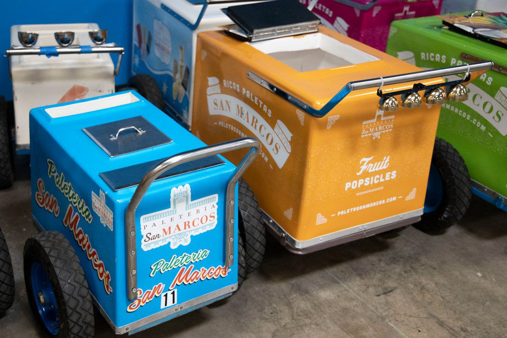 Push carts sit to the side at Paleteria San Marcos