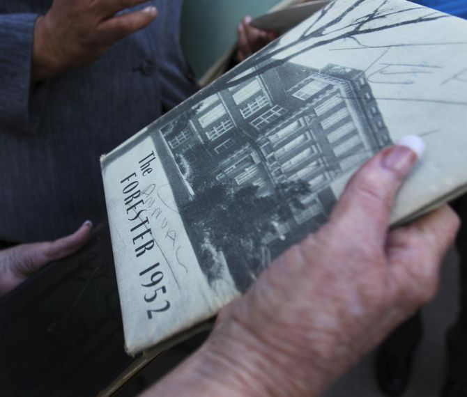 A Forest Avenue High School yearbook from 1952 was brought to a gathering of alumni Thursday morning.