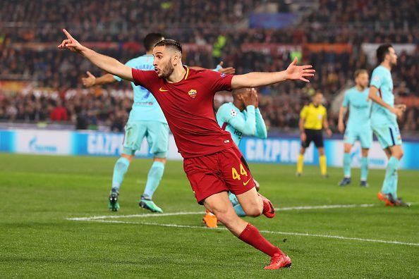 Manolas de AS Roma celebrando su gol ante Barcelona en la Champions. (Photo by Catherine Ivill/Getty Images)