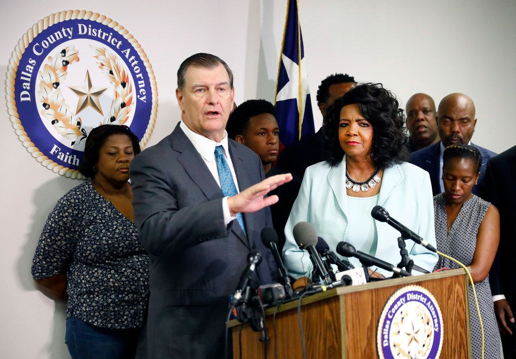 Alongside Dallas County District Attorney Faith Johnson (center, right) Dallas Mayor Mike Rawlings spoke during a press conference at the Frank Crowley Courts Building about  the shooting of Botham Jean by Dallas police officer Amber Guyger.