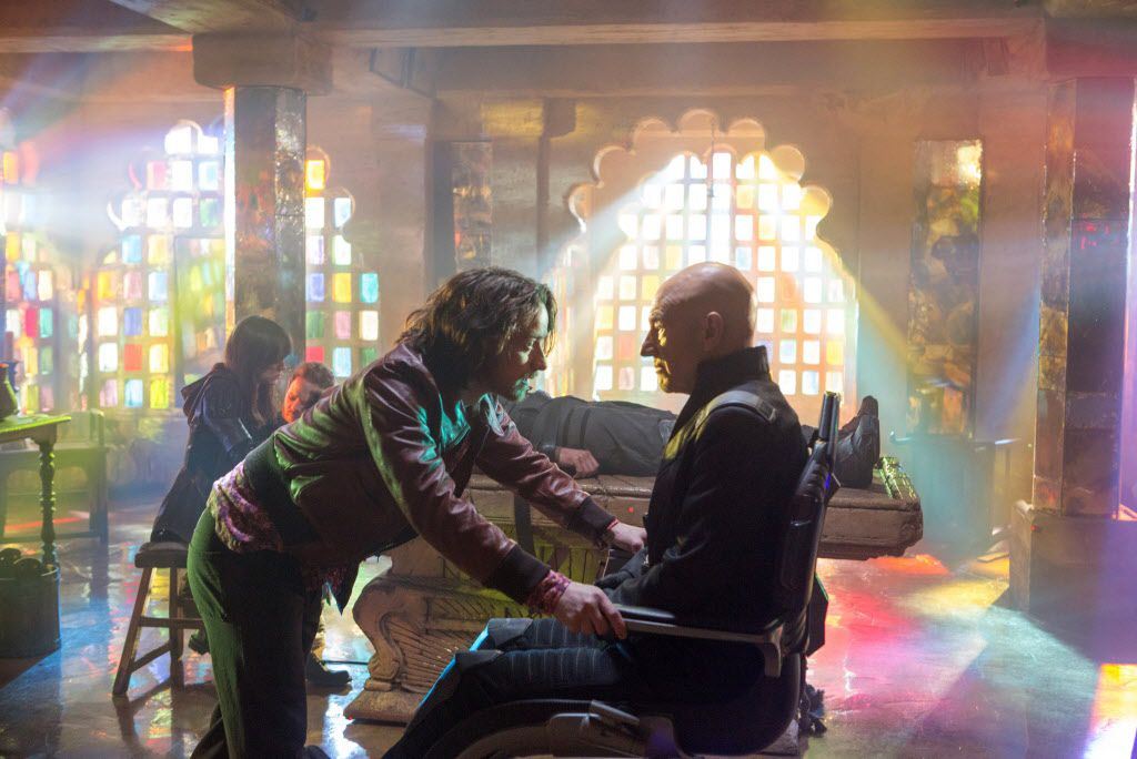 """This image released by 20th Century Fox shows James McAvoy, left, and Patrick Stewart in """"X-Men: Days of Future Past."""""""