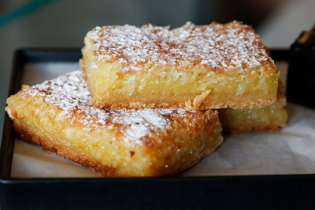 Coconut lemon bars are served at Local Press + Brew in Dallas on Monday, September 25, 2017. (David Woo/The Dallas Morning News)