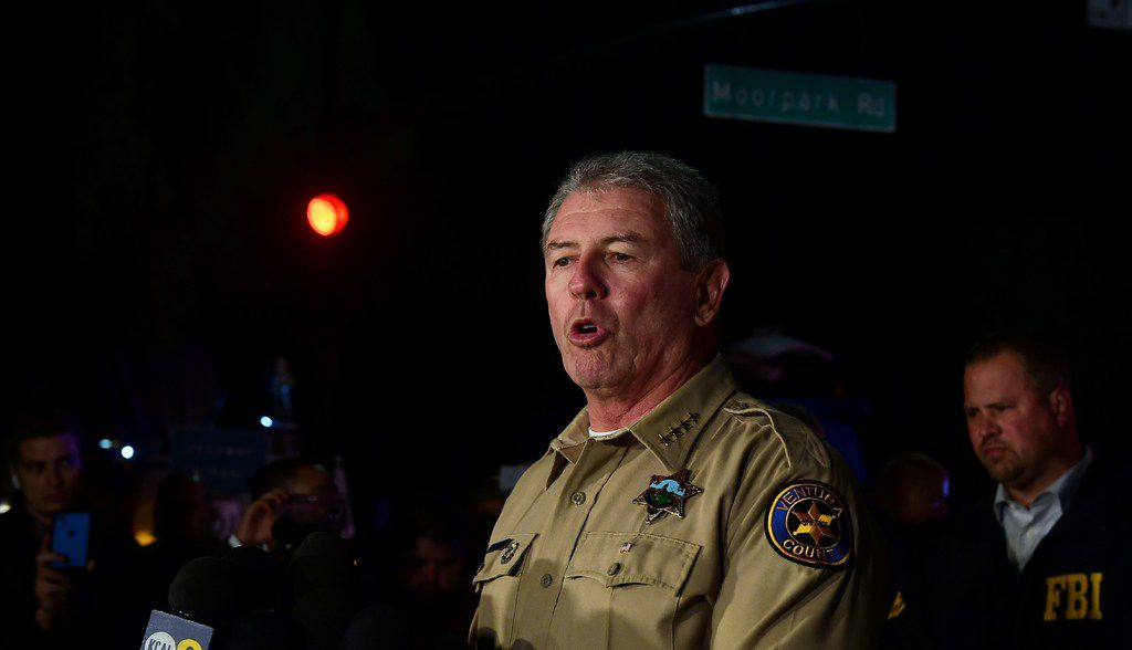Ventura County Sheriff Geoff Dean briefs reporters after a mass shooting at a bar in Thousand Oaks, Calif.