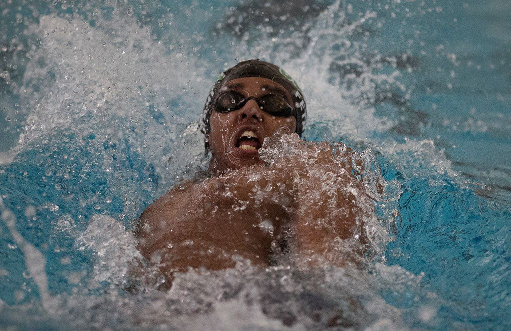 Bryan Adams High School student Abel Fetahi competes in the backstroke during the boys 200 yard medley relay at the Region IV, Class 5A Championships held at the LISD Aquatics Center in Lewisville on Saturday February 2, 2019.  (Stewart F. House/Special Contributor)