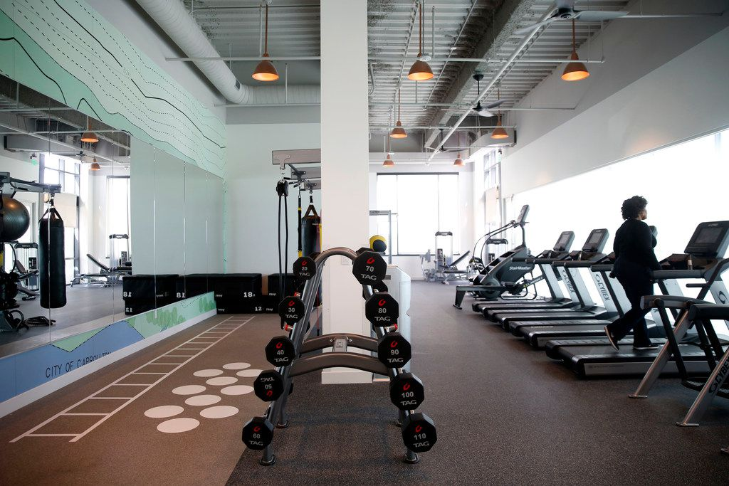 AmerisourceBergen's new campus in Carrollton has a 3,600-square-foot fitness center and a studio that offers 15 hours of classes per week, such as yoga and spinning. It also has locker rooms and showers. (Rose Baca/Staff Photographer)