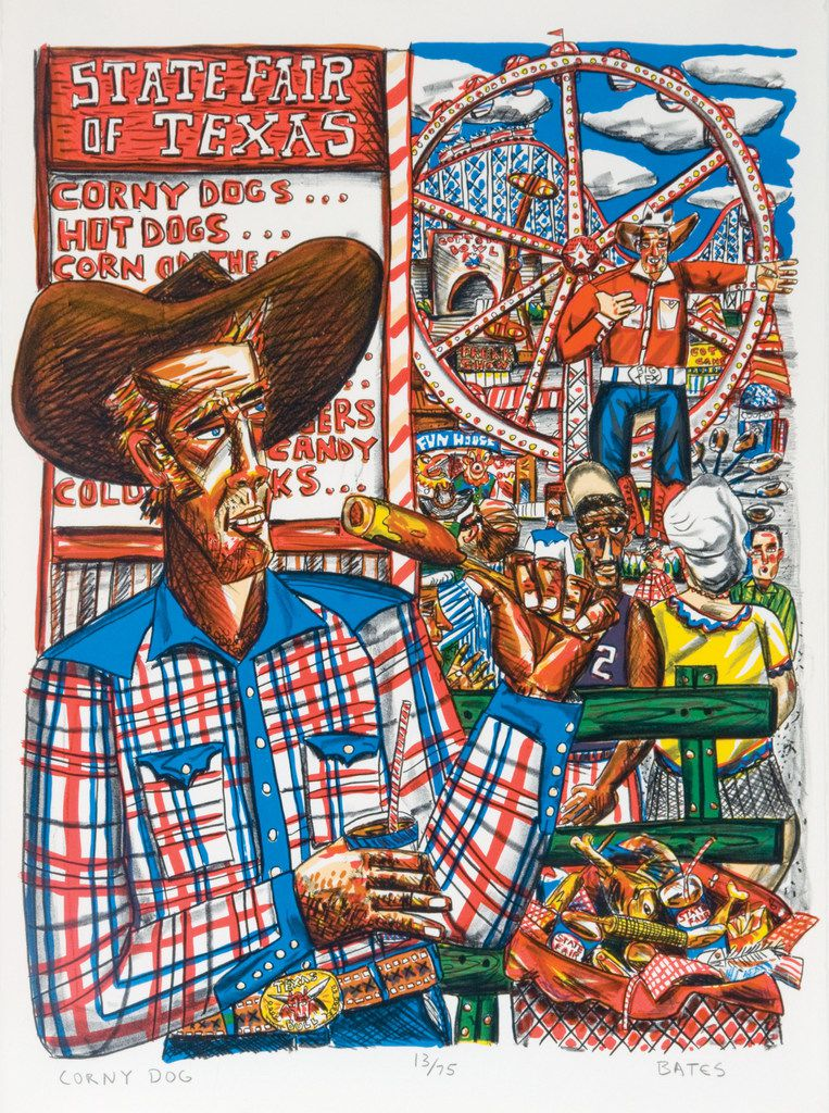 Corny Dog, by David Bates, is part of his 2018 show at the Tyler Museum of Art. David Bates (b. 1952). Corny Dog, 1986. Lithograph, 27    x 21 inches. Tyler Museum of Art Permanent Collection