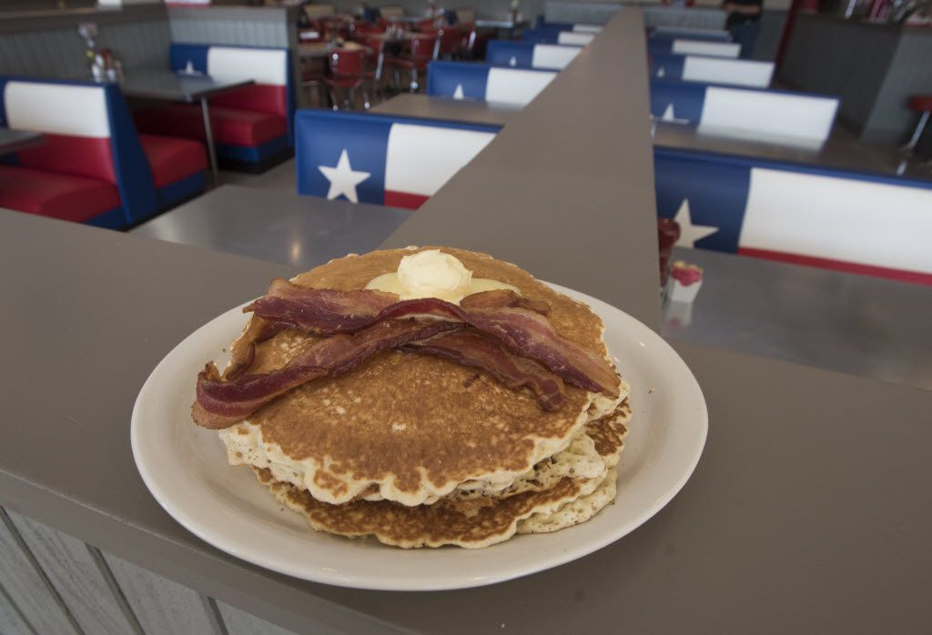Pancakes and bacon from the newest location of Norma's Cafe in Caruth Plaza on Friday, July 8, 2016.