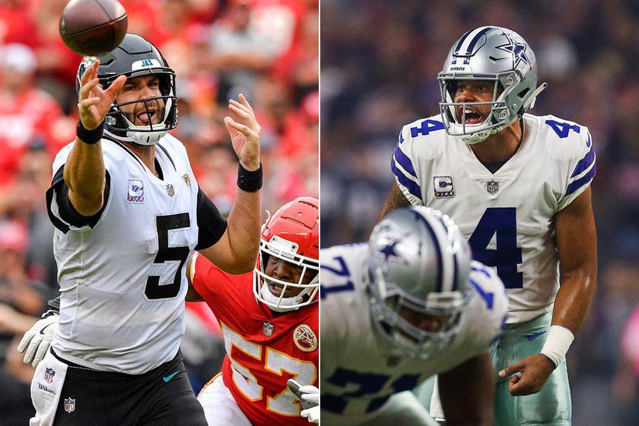 Pictured left to right: Jacksonville Jaguars quarterback Blake Bortles and Dallas Cowboys quarterback Dak Prescott.