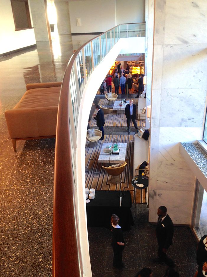 A second-floor balcony gives a view of the lobby at the Statler Hotel.