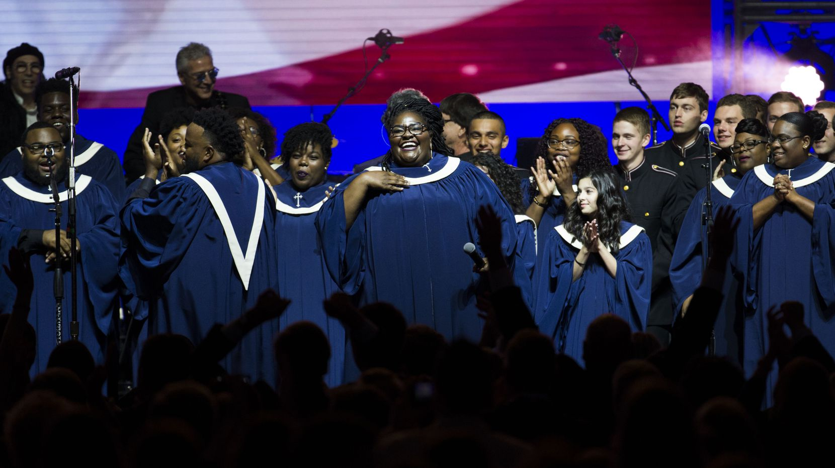 The Houston Gospel Choir performs during Deep from the Heart: The One America Appeal Concert.