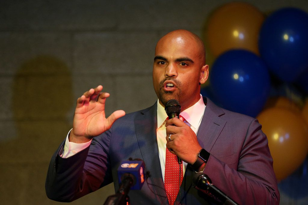 Colin Allred speaks to supporters during an election night party at Ozona Grill and Bar in Dallas on May 22.