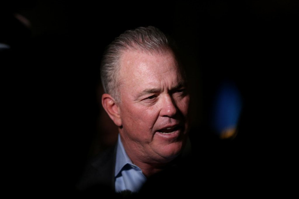 Stephen Jones, executive vice president and CEO of the Dallas Cowboys, speaks to the media before the inaugural Jason Witten Collegiate Man of the Year award presentation in the Ford Center at The Star in Frisco on Thursday, Feb. 22, 2018. (Rose Baca/The Dallas Morning News)