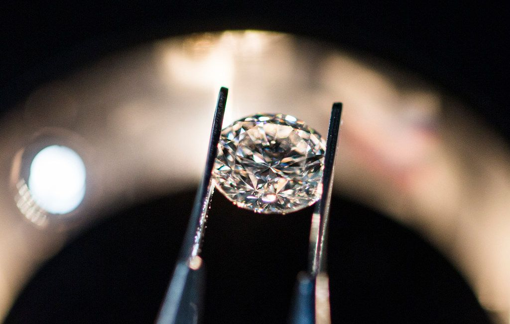 An artisan 1.02 carat, G color, VS2 diamond at Spence Diamonds at West Village shopping center in Dallas. All jewelry is available with mined and artisan diamonds.