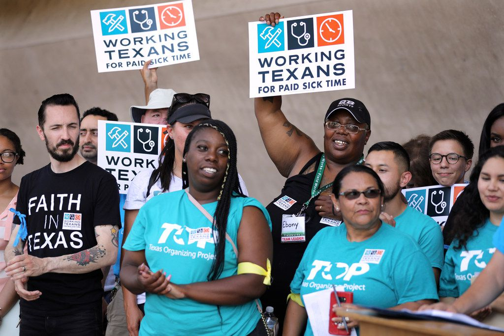 Supporters of a petition drive attended a news conference on June 11, 2018, before a coalition of labor and faith groups and political activists delivered petitions to Dallas City Hall calling for a city ordinance mandating that paid sick time be placed on the November ballot.