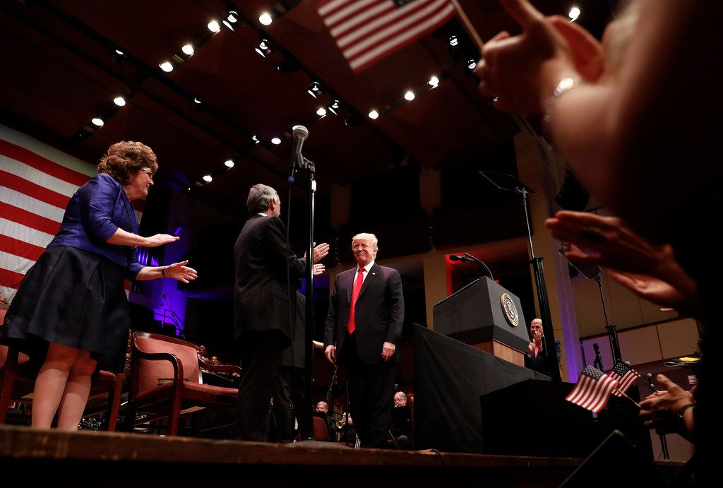 President Donald Trump was greeted by Pastor Robert Jeffress of First Baptist Dallas as he arrived to speak during the Celebrate Freedom event at the Kennedy Center for the Performing Arts in Washington in July 2017.