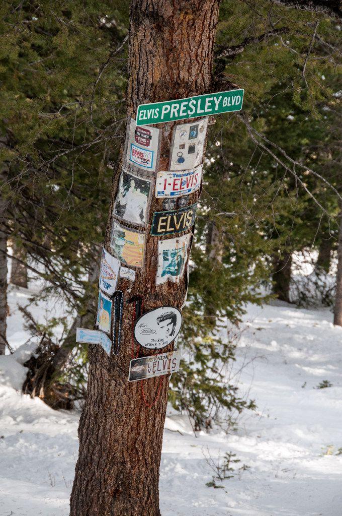 Elvis Presley shrine, Aspen Mountain Ski Area, Aspen, Colorado.