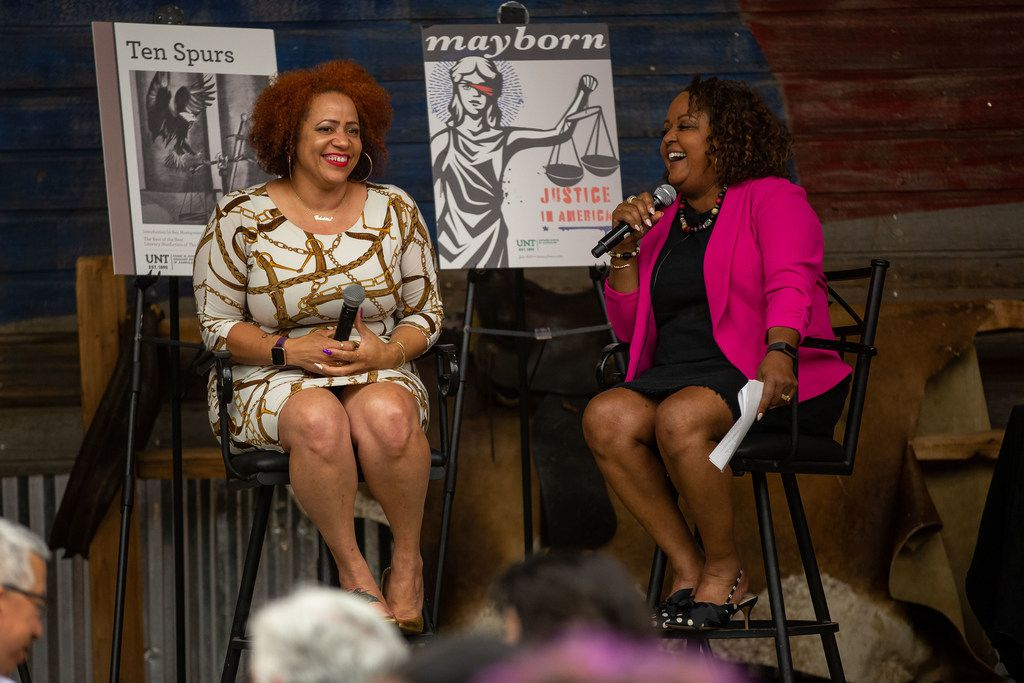Nikole Hannah-Jones, New York Times Magazine domestic correspondent, speaks with reporter Cheryl Thompson during a keynote event at the Mayborn Literary Nonfiction Conference.