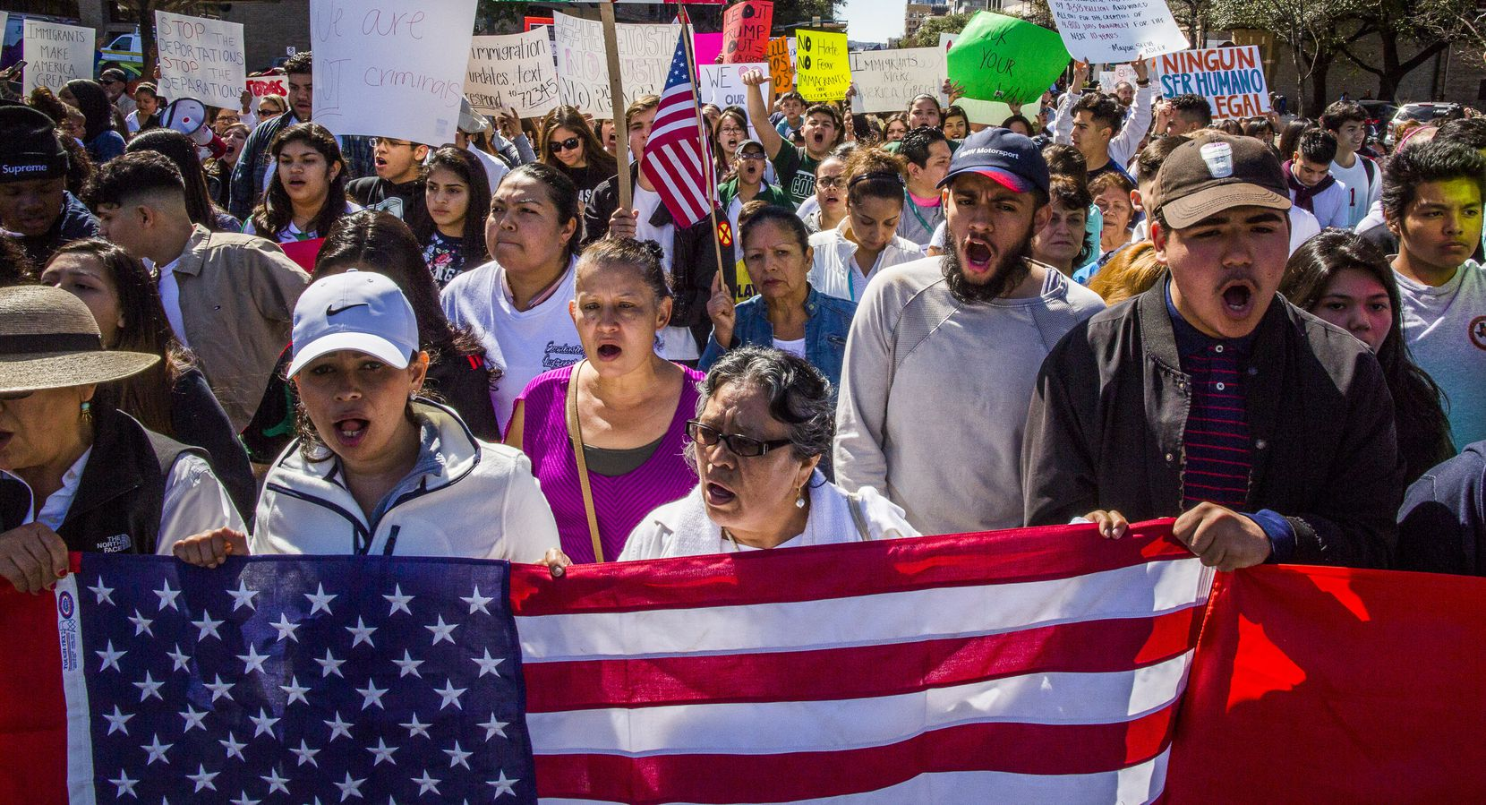 Protesters march in the streets outside the Texas State Capital on 'A Day Without Immigrants' February 16, 2017 in Austin, Texas.  The crowd, which grew to well over a thousand participants, marched from the Austin City Hall to the Texas State Capital.