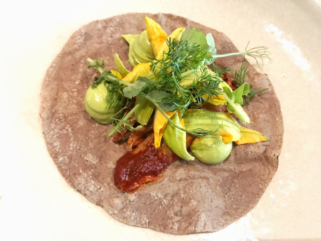A lamb barbacoa taco was dressed with avocado mousse, squash blossoms and salsa borracho. This was killer.