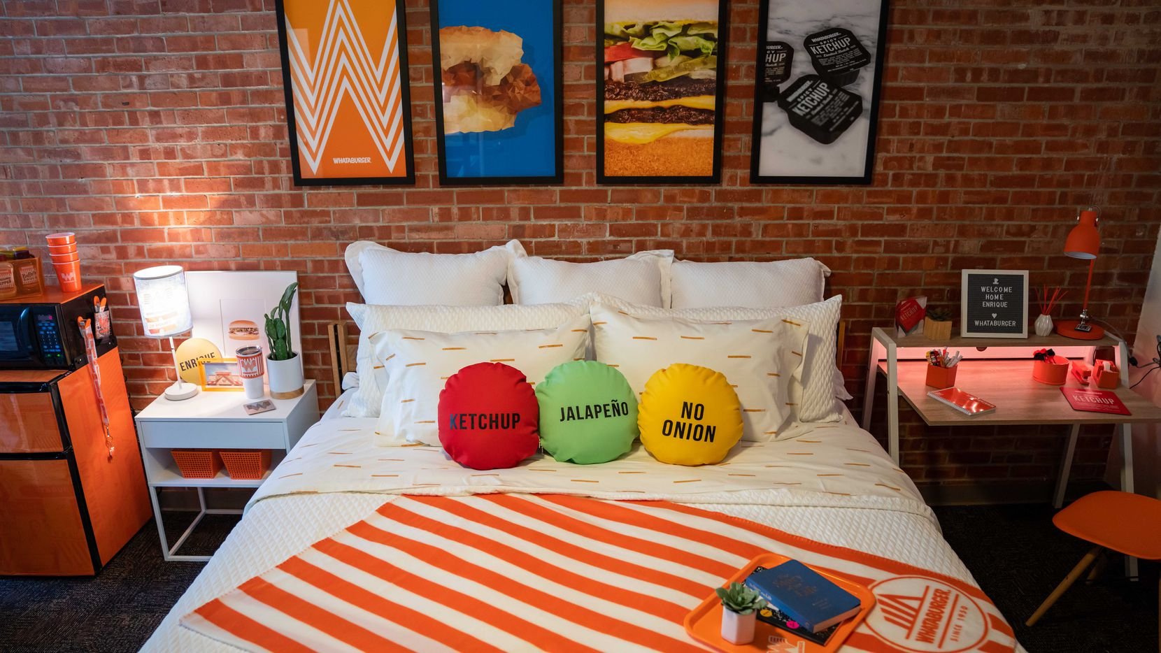 This Whataburger-themed dorm room is home for Enrique Alcoreza, a student at Trinity University in San Antonio.