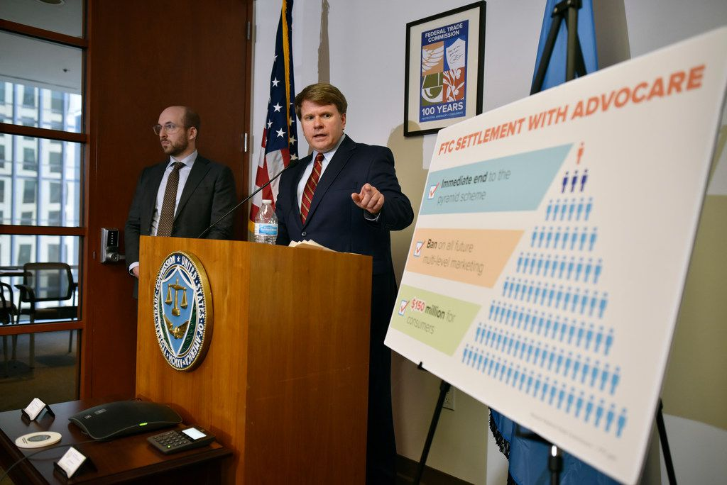 Andrew Smith, consumer protection bureau director for the Federal Trade Commission, gestured to a chart breaking down the FTC's settlement with Plano-based AdvoCare during a news conference Wednesday in Dallas.