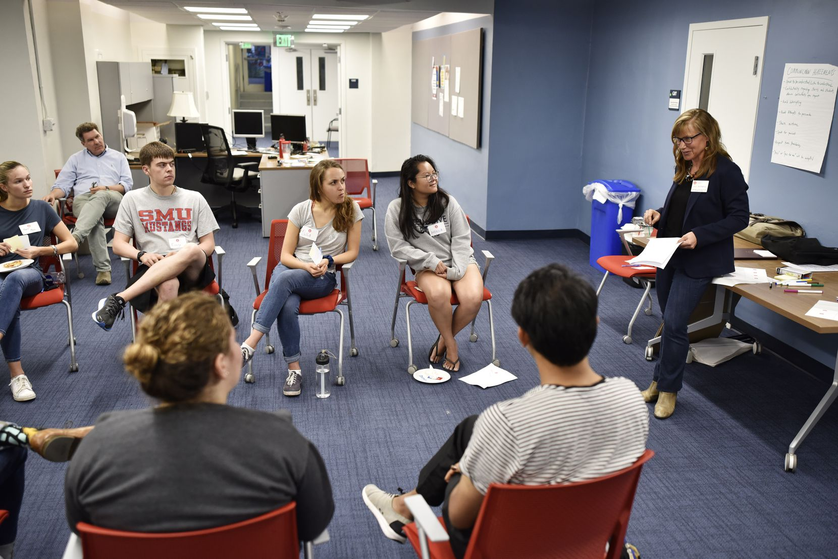 Professor Jill DeTemple explains how a dialogue circle would work to a group of honors students at SMU.
