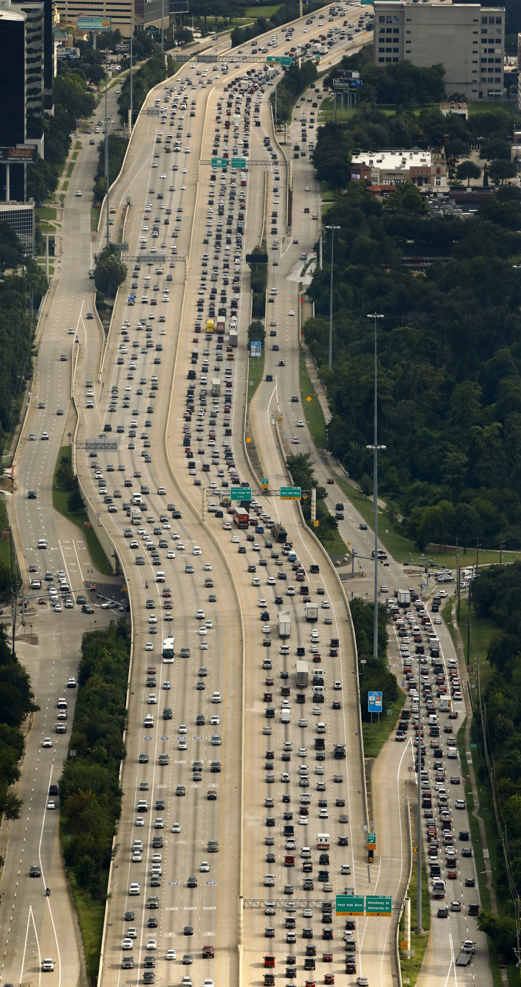Southbound traffic on the 610 West Loop is backed up as folks got back on the roads in Houston, Texas, Wednesday, August 30, 2017.