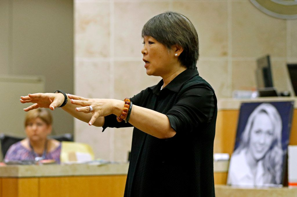 Defense attorney Maria Tu does a cross exam during the Jason Lowe murder trial at the Collin County Courthouse in McKinney, Texas, Monday, Sept. 18, 2017.